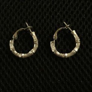 Vintage Trifari Silver Bamboo Earrings